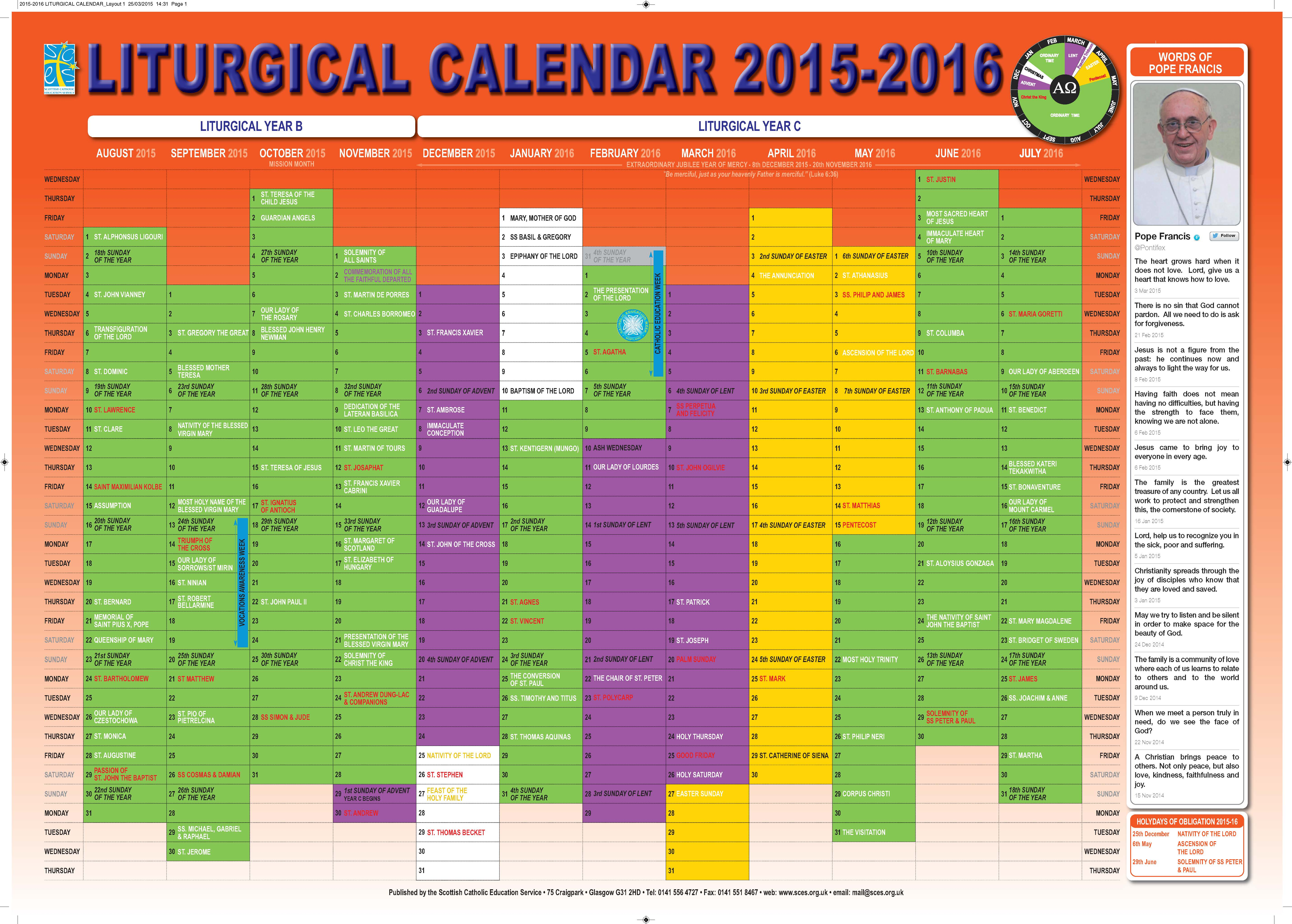 ... Catholic Education Service | SCES | Liturgical Calendar 2015-16