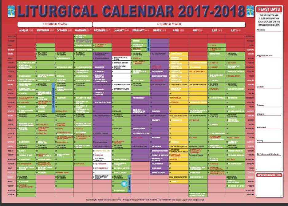 sces has published a liturgical calendar wallchart for academic year 2017 18 for use in schools and parishes it is printed in full colour at b2 size 29 x